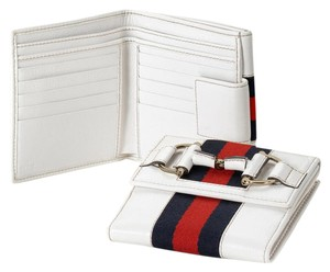 Gucci GUCCI French Leather Wallet w/Horsebit and BRB Web White 245751