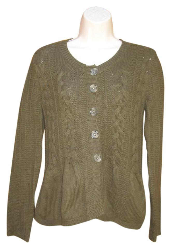 b43f479c7da47c Banana Republic Olive Green Wool Blend Chunky Knit Sweater Cardigan ...