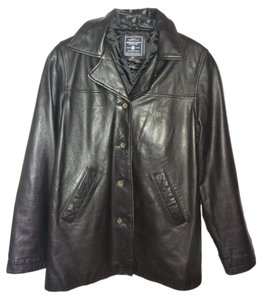 American Eagle Outfitters Leather Distressed Black Leather Jacket