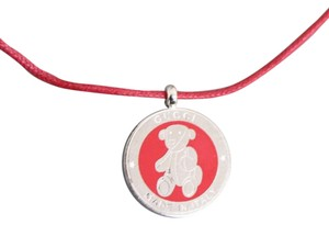 Gucci Gucci Sterling Silver Teddy Bear Padent Necklace, Red 272873 1167