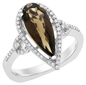 4.24 Ct. Natural Diamond & Smokey Topaz Halo Euro Back Ring 14k White