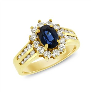 Other 2.00 Ct. Natural Diamonds & Sapphire Halo Fashion Ring In Solid 14k