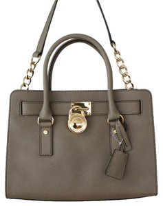 Michael Kors Beige Leather Gold Saffiano Satchel in Dark Dune