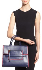 Marc Jacobs Leather Tote in Navy w/ red trim