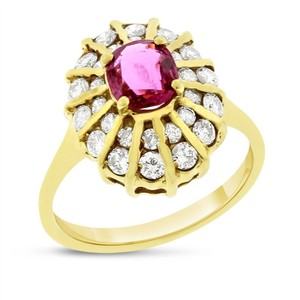 Other 1.97 Ct. Natural Diamond & Cushion Cut Ruby Fashion Ring Solid 18k