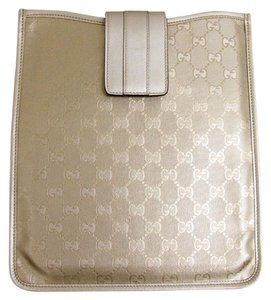 Gucci GUCCI GG Monogram iPad Case Gold Imprime w/Box 256575 9504