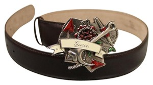 Gucci GUCCI Heart Tattoo Leather BELT 80/32 w/Metal Buckle 308045