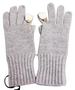 Gucci GUCCI Wool/Cashmere Gloves w/Metal GG button Gray sz L 272743 1477