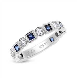 Other 1.10 Ct. Diamond Sapphire Square & Circle Size-able Filigree Eternity