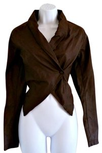 Romeo & Juliet Couture Vegan Leather Asymmetrical Wrap One Button Brown Leather Jacket