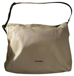 Calvin Klein New Soft Leather Zipper Closure Cream Color Shoulder Bag