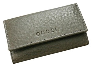 Gucci GUCCI Leather Key Chain/ Holder GRAY w/Box 260989 1200