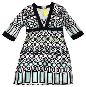 MILLY short dress Black white green yellow on Tradesy