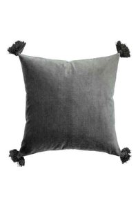 H&M TWO grey velvet tassel pillow cases