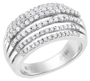 Other 0.74 Ct. Natural Diamond Split Dome Row Fashion Ring In 14k White Gold