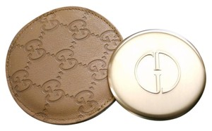 Gucci GUCCI Beige Compact Mirror Guccissima Leather Pouch&Box 263560 9964