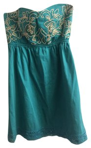 Judith March short dress Turq Multi Strapless Sweetheart Embroidered Lace Trim on Tradesy