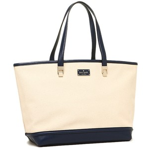 Kate Spade Canvass Leather Taren Tote in NATURAL/FRENCH NAVY