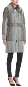 Badgley Mischka Reversible Shearling Cashmere Suede Leather Fur Coat
