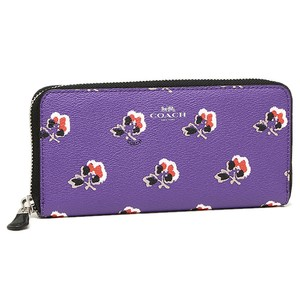 Coach NEW COACH Rose floral print zip around long Clutch wallet Purple