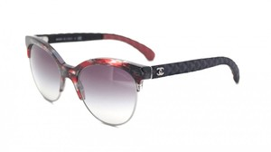 Chanel NEW Chanel 5342 Oversized Red Wayfarer Sunglasses Quilted Denim $425