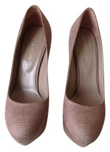 Sergio Rossi Textured Leather Dusty Champagne/Mocha Pumps