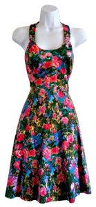 London Times short dress Green Fitted Full Floral Lined Halter on Tradesy