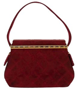 Chanel Quilted Suede Satchel in Red