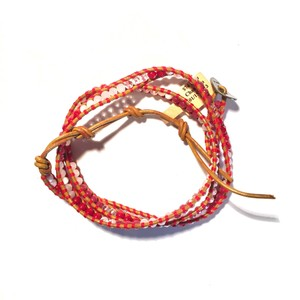 Chan Luu Mixed Red Henna Leather Wrap Bracelet