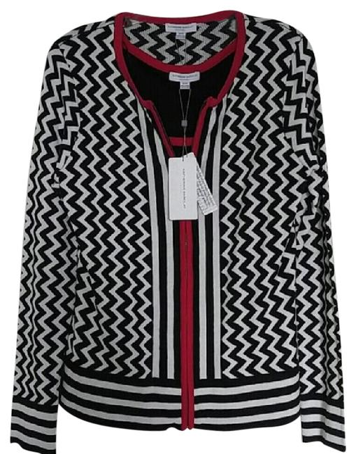 Katherine Barclay Black/White/Red K2813-s365-blkwht Cardigan Size 6 (S) Katherine Barclay Black/White/Red K2813-s365-blkwht Cardigan Size 6 (S) Image 1