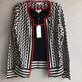 Katherine Barclay Black/White/Red K2813-s365-blkwht Cardigan Size 6 (S) Katherine Barclay Black/White/Red K2813-s365-blkwht Cardigan Size 6 (S) Image 5