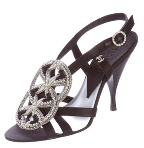 Chanel Interlocking Cc Embroidered Beaded Crystal Silver Hardware Black, Silver Pumps