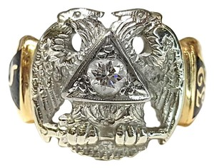 DeWitt's Vintage 14K Gold & Diamond Masonic (Mason) Ring
