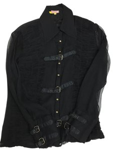 Catherine Malandrino Buckles Silk Button Up Evening Party Top Black