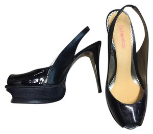 bebe Patent Leather Black Platforms