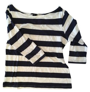 H&M Boat Neck Striped 3/4 Length T Shirt navy and white