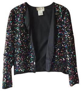 Papell Boutique Vintage Sequin Top Black/Multi