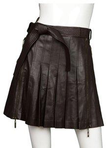 Dior Christian Pleated Leather Mini Skirt Brown