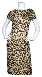 Dior Christian Leopard Print Cap-sleeve Shift Dress