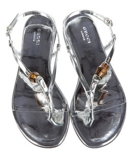 Gucci Embellished Gg Silver, Brown Sandals