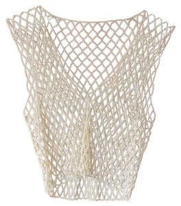 Other Caged Vintage Beaded Cropped Top Ivory