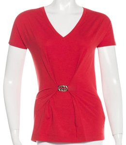 Gucci Gg V-neck Hardware Top Red, Gold