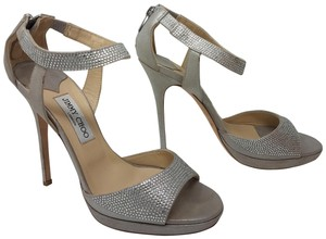 Jimmy Choo Ankle Strap Crystal Embellished Hardware Platform Silver Sandals