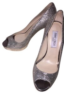 Jimmy Choo Silver Glitter Wedding Platform silver/gold Pumps