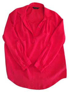 Dorothy Perkins Silk Button Down Work Clothes Top Red