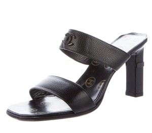 Chanel Interlocking Cc Logo Peep Toe Embroidered Silver Hardware Black Sandals
