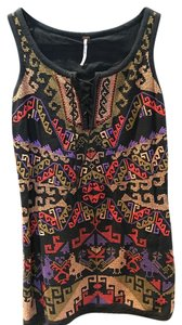 Free People short dress Black Embroidered Boho Bohemian on Tradesy