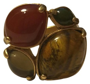 Lia Sophia Gold ring with red/green/tiger's eye stone