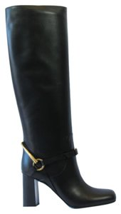 Gucci 358215 Womens Leather Horsebit Tall Black Boots