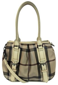 Burberry Smoked Check Small Northfield Trench Tote in Beige